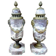 Pair of 19th Century French Louis XVI Style Marble Cassolettes