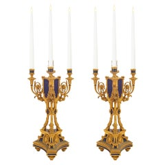 Pair of 19th Century French Louis XVI Style Ormolu and Lapis Candelabras