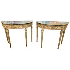 Pair of 19th Century French Louis XVI Style Parcel-Gilt Demi-Lune Consoles