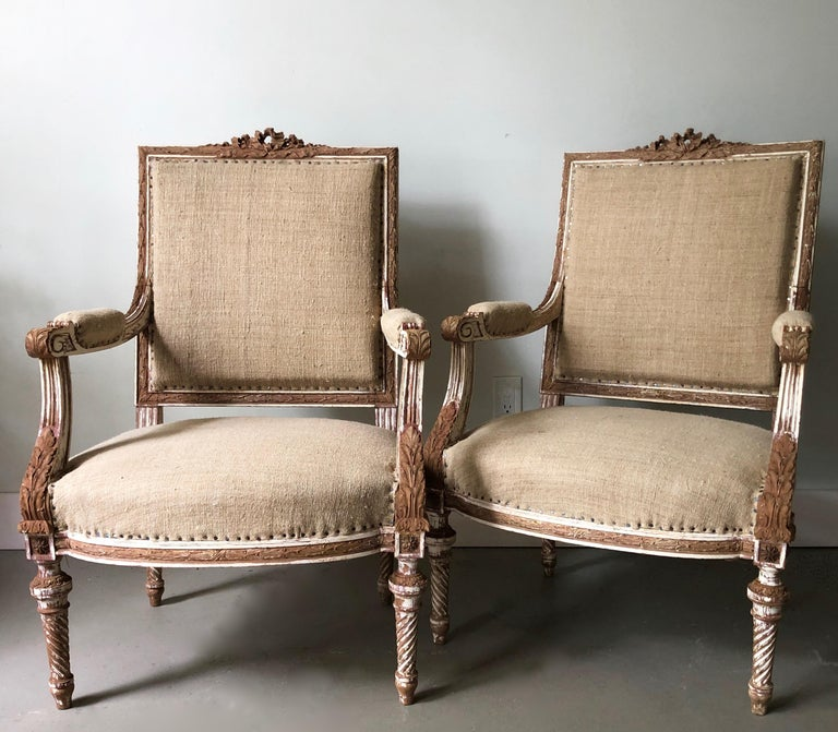 Pair of 19th Century French Louis XVI Style Square Back Armchairs In Good Condition For Sale In Charleston, SC