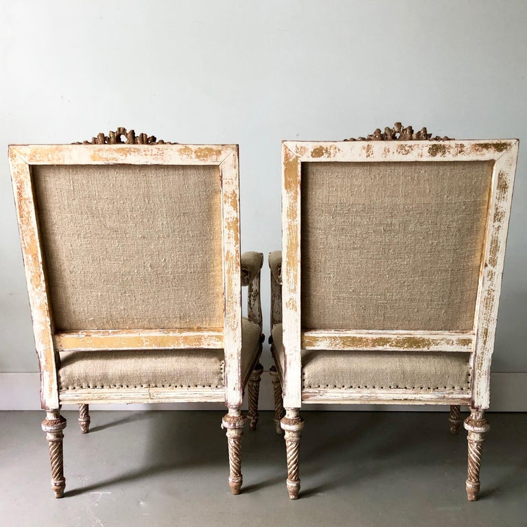 Linen Pair of 19th Century French Louis XVI Style Square Back Armchairs For Sale
