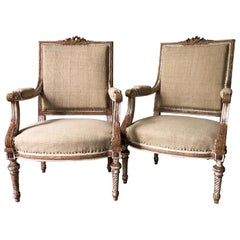 Pair of 19th Century French Louis XVI Style Square Back Armchairs