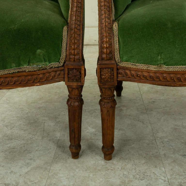 Pair of 19th Century French Louis XVI Style Walnut Wingback Armchairs, Bergeres 6