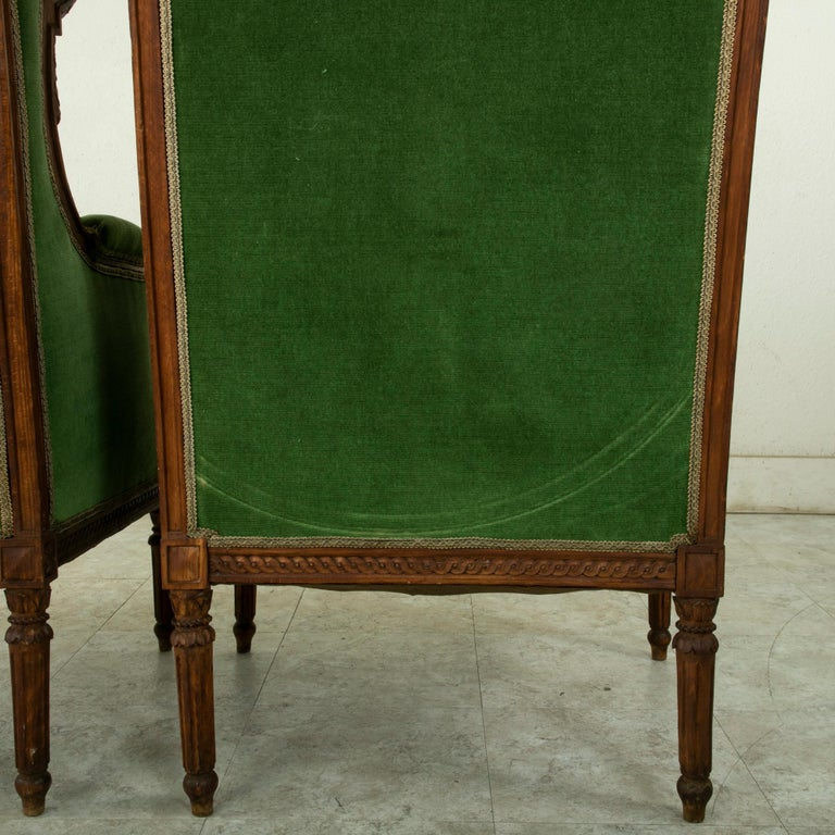 Pair of 19th Century French Louis XVI Style Walnut Wingback Armchairs, Bergeres 7