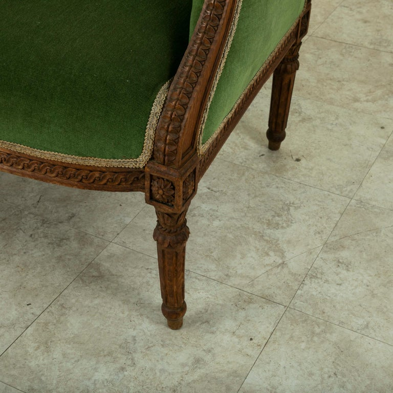 Pair of 19th Century French Louis XVI Style Walnut Wingback Armchairs, Bergeres 9