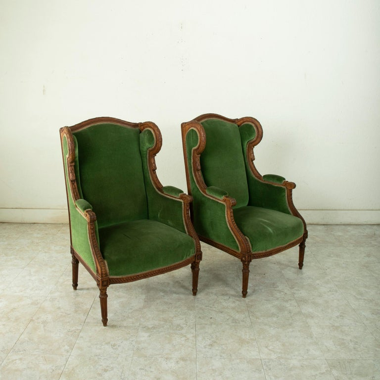 Pair of 19th Century French Louis XVI Style Walnut Wingback Armchairs, Bergeres 1