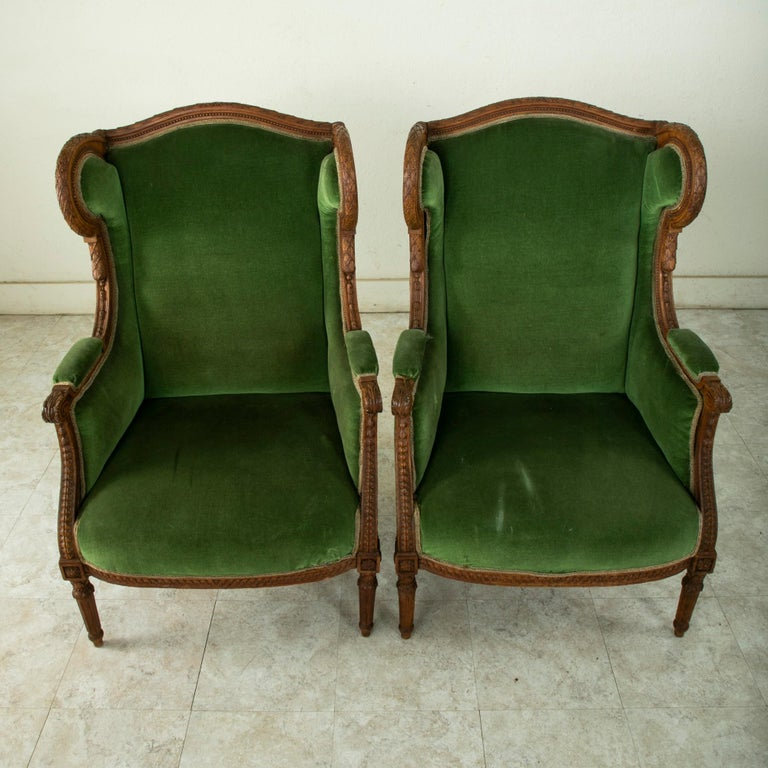Pair of 19th Century French Louis XVI Style Walnut Wingback Armchairs, Bergeres 2