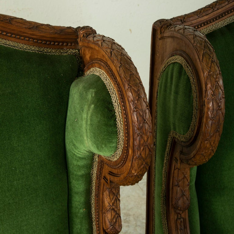 Pair of 19th Century French Louis XVI Style Walnut Wingback Armchairs, Bergeres 3