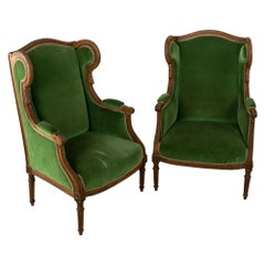 Pair of 19th Century French Louis XVI Style Walnut Wingback Armchairs, Bergeres