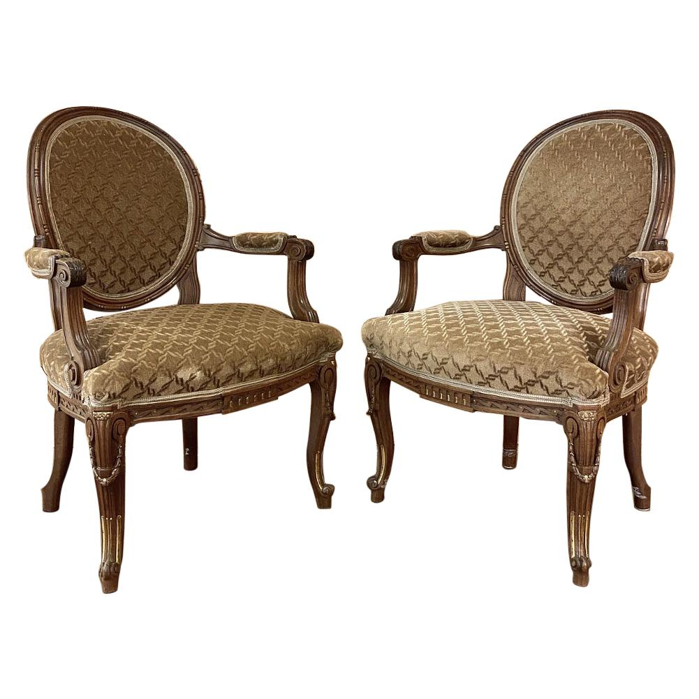 Pair of 19th Century French Louis XVI Walnut Armchairs, Fauteuils