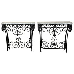 Pair of 19th Century French Marble-Top Wrought Iron Hand-Forged Consoles