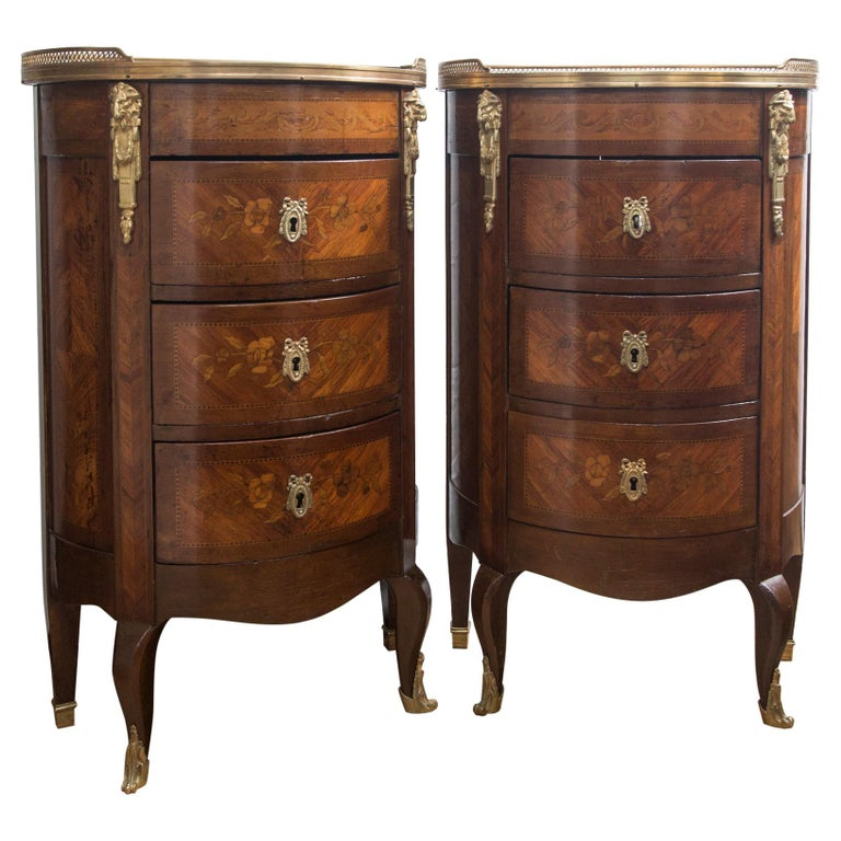 Pair of 19th Century French Marble Topped D Shaped Transitional Bedside Tables For Sale