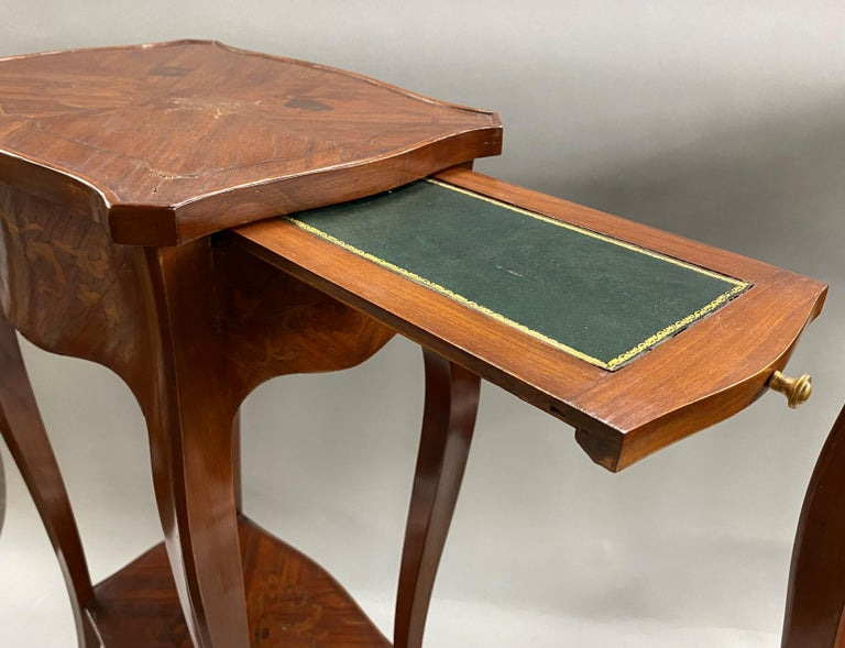 Pair of 19th Century French Marquetry One-Drawer End Tables For Sale 6