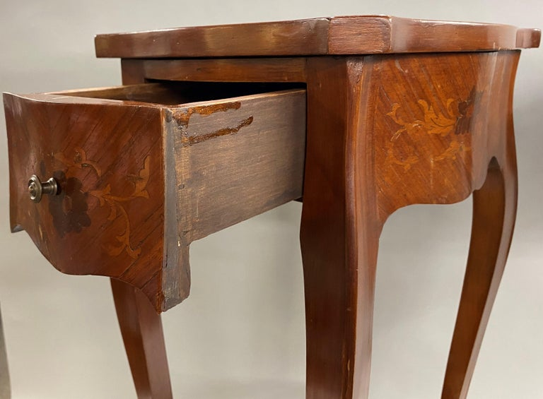 Pair of 19th Century French Marquetry One-Drawer End Tables For Sale 7
