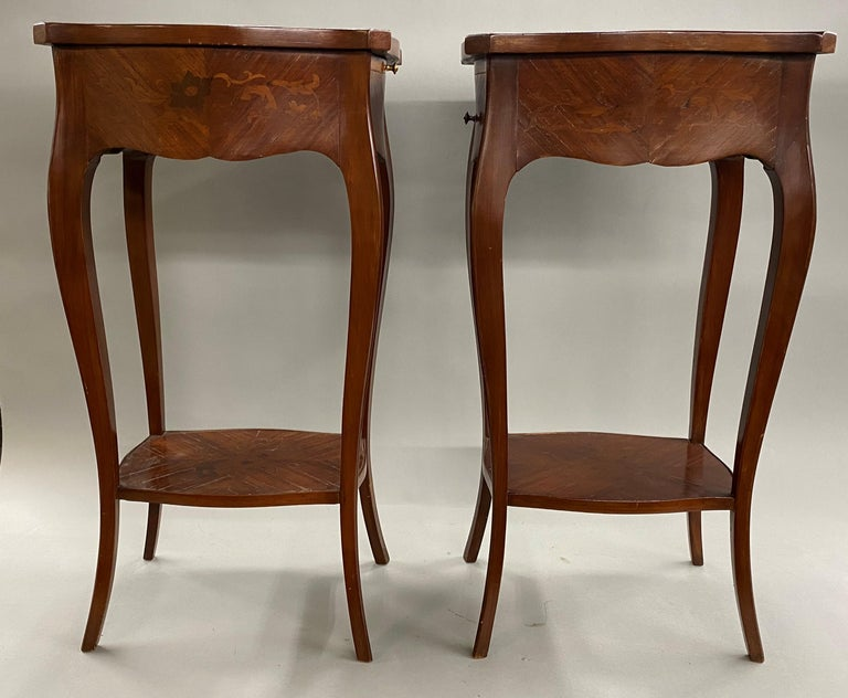 Rosewood Pair of 19th Century French Marquetry One-Drawer End Tables For Sale