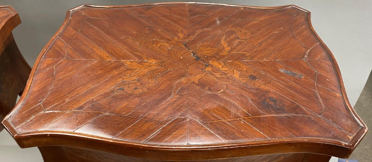 Pair of 19th Century French Marquetry One-Drawer End Tables For Sale 2