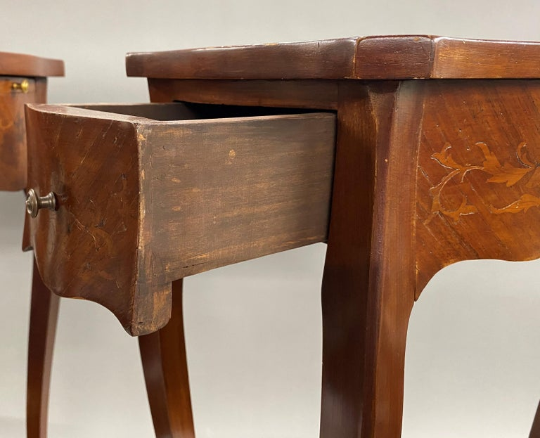Pair of 19th Century French Marquetry One-Drawer End Tables For Sale 5
