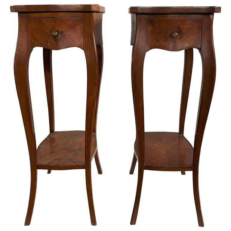 Pair of 19th Century French Marquetry One-Drawer End Tables For Sale