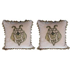 Pair of 19th Century French Metallic Appliqued Velvet Pillows