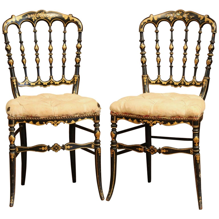 Pair Of 19th Century French Napoleon III Black Lacquered