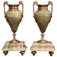 Pair of 19th Century French Napoleon III Green Marble and Bronze Cassolettes
