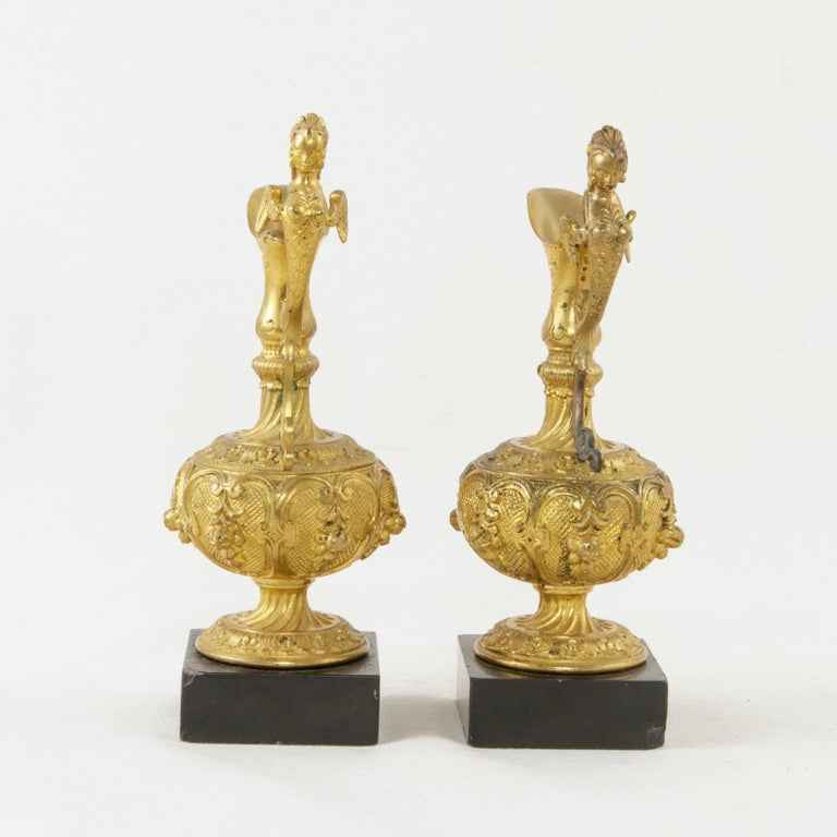 Pair of 19th Century French Napoleon III Period Gilt Bronze Altar Cruets For Sale 1