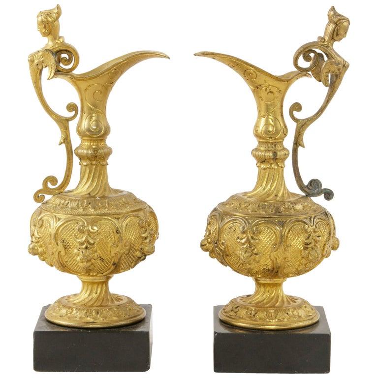 Pair of 19th Century French Napoleon III Period Gilt Bronze Altar Cruets For Sale