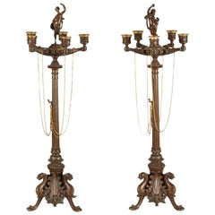 Pair of 19th Century French Neoclassical Bronze Candelabra