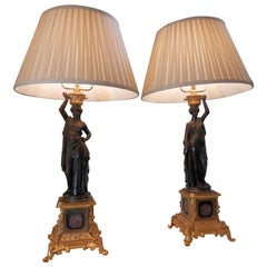 Pair of 19th Century French Neoclassical Bronze Classical Figural Lamps