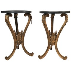 Pair of 19th Century French Neoclassical Gilt Metal Stands with Marble Tops