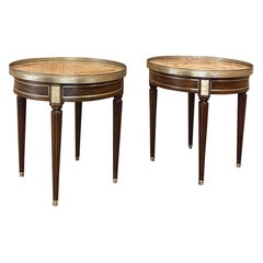 Pair of 19th Century French Neoclassical Marble Top End Tables