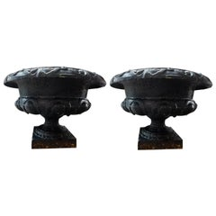Pair of 19th Century French Neoclassical Medici Style Cast Iron Garden Urns