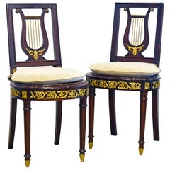 Pair of 19th Century French Neoclassical Ormolu Mounted Lyre Back Side Chairs