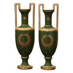 Pair of 19th Century French Neoclassical Painted and Gilt Porcelain Vases
