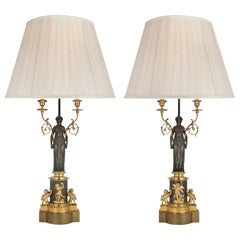 Pair of 19th Century French Neoclassical Style Candelabras Mounted into Lamps