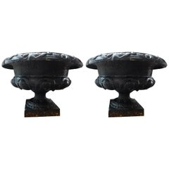Pair of 19th Century French Neoclassical Style Cast Iron Garden Urns