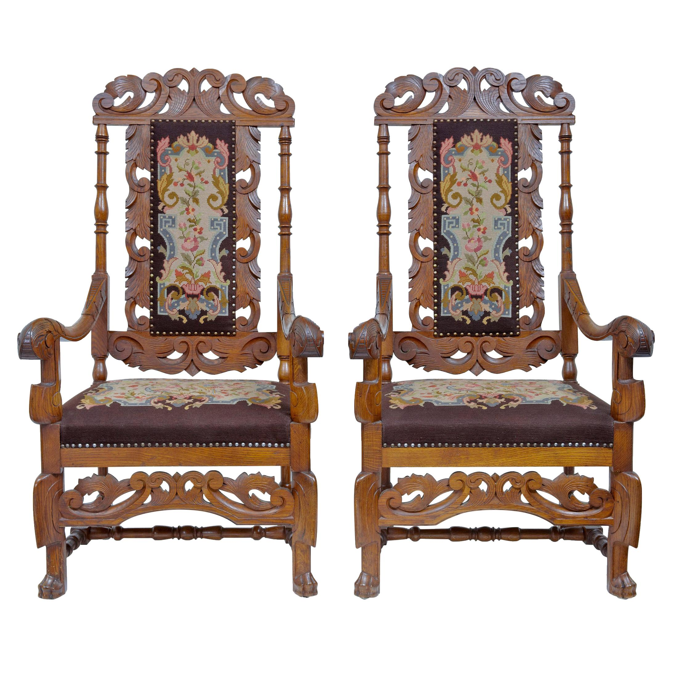 Pair of 19th Century French Oak Throne Armchairs