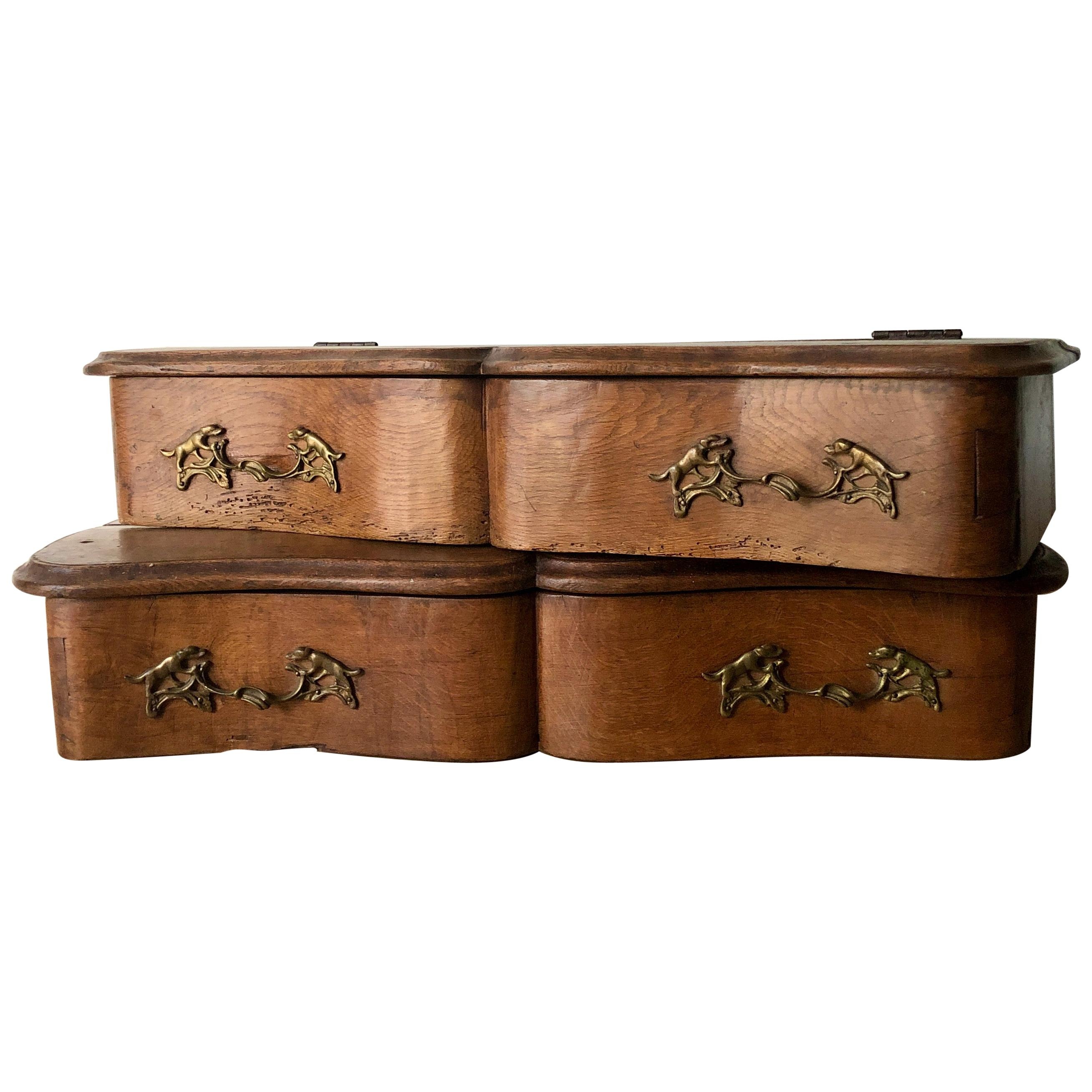Pair of 19th Century French Oak Valet Boxes