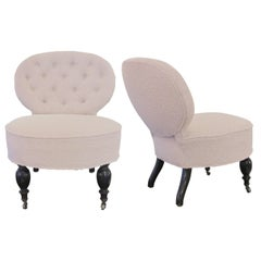 Pair of 19th Century French Occasional Chairs, Biscuit Tufted, Newly Upholstered