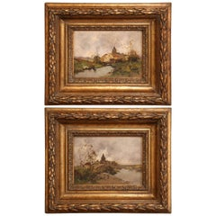 Pair of 19th Century French Oil on Board in Gilt Frames by E. Galien-Laloue