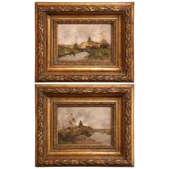 Pair of 19th Century French Oil on Board in Gilt Frames Signed a. Languinais