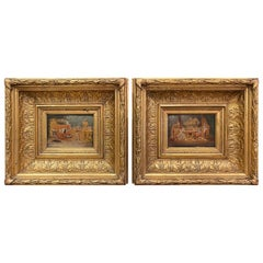 Pair of 19th Century French Oil on Board Paintings in Carved Gilt Frames