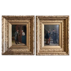 Pair of 19th Century French Oil on Canvas Paintings in Gilt Frames Signed Louis