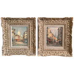 Pair of 19th Century French Oil on Canvas Paris Paintings in Carved Frames
