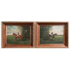 Pair of 19th Century French Oil on Canvas Race Horse Paintings Signed A. Bourgon