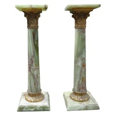 Pair of 19th Century French Onyx and Bronze Pedestals