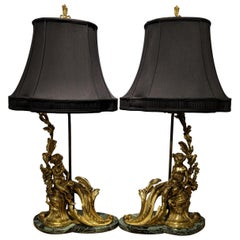 Pair of 19th Century French Ormolu Chenet Lamps