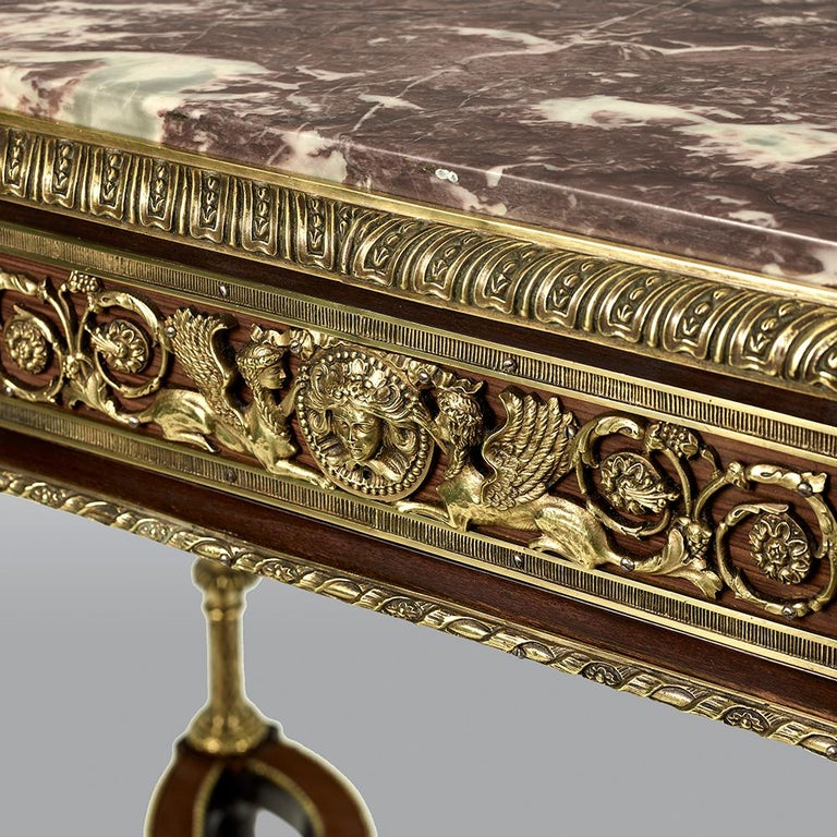 Pair of 19th Century French Ormolu-Mounted Mahogany Table De Milieu For Sale 9