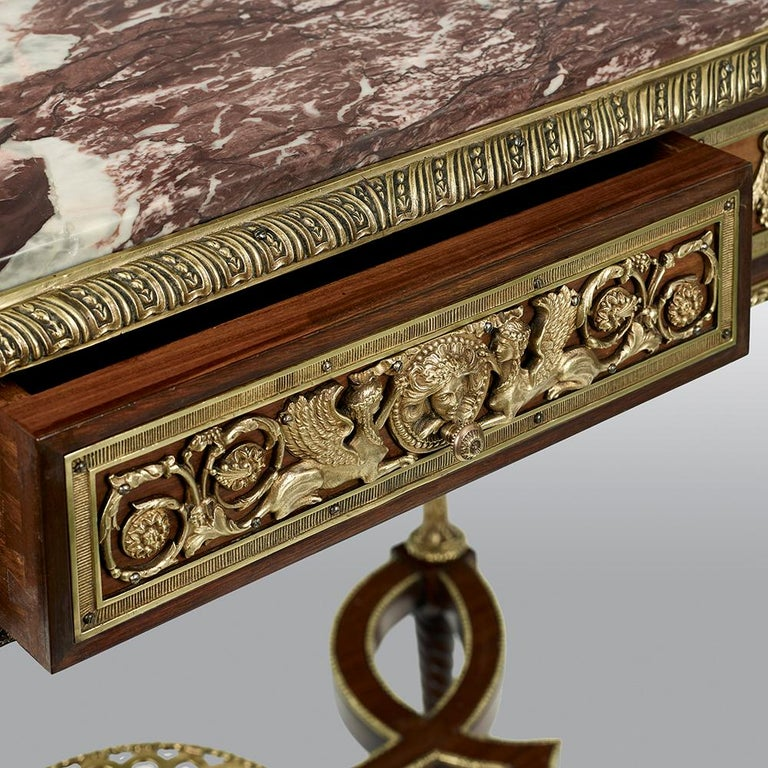 Pair of 19th Century French Ormolu-Mounted Mahogany Table De Milieu For Sale 11