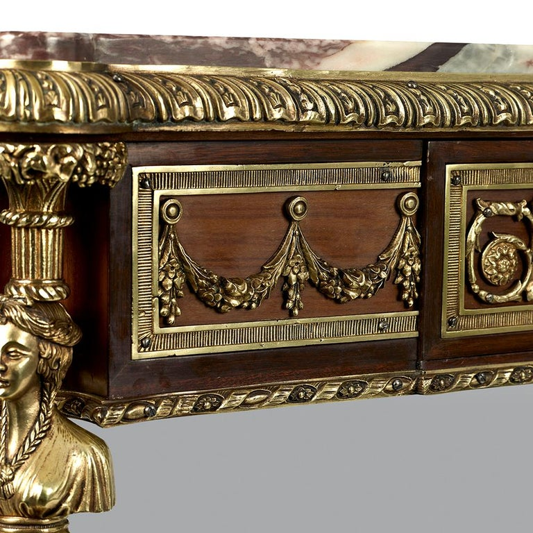 Pair of 19th Century French Ormolu-Mounted Mahogany Table De Milieu For Sale 14